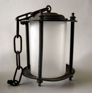 Vintage Lamp Hanging Porch Pendant Light Craftsmen Rustic Salvage Needs Wiring photo