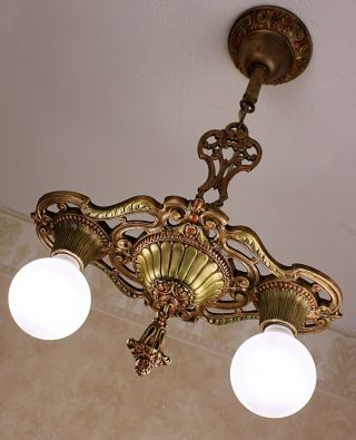 1920 ' S Antique Vintage Markel Art Deco Ceiling Light Fixture Chandelier photo