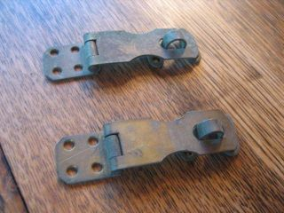 2 Vintage Hasp Latches Latch Lock Aged Brass Patina 4