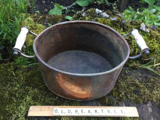 Vintage Copper Planter Garden Oval Trough Windowsill Tub Ceramic Handles Rustic photo