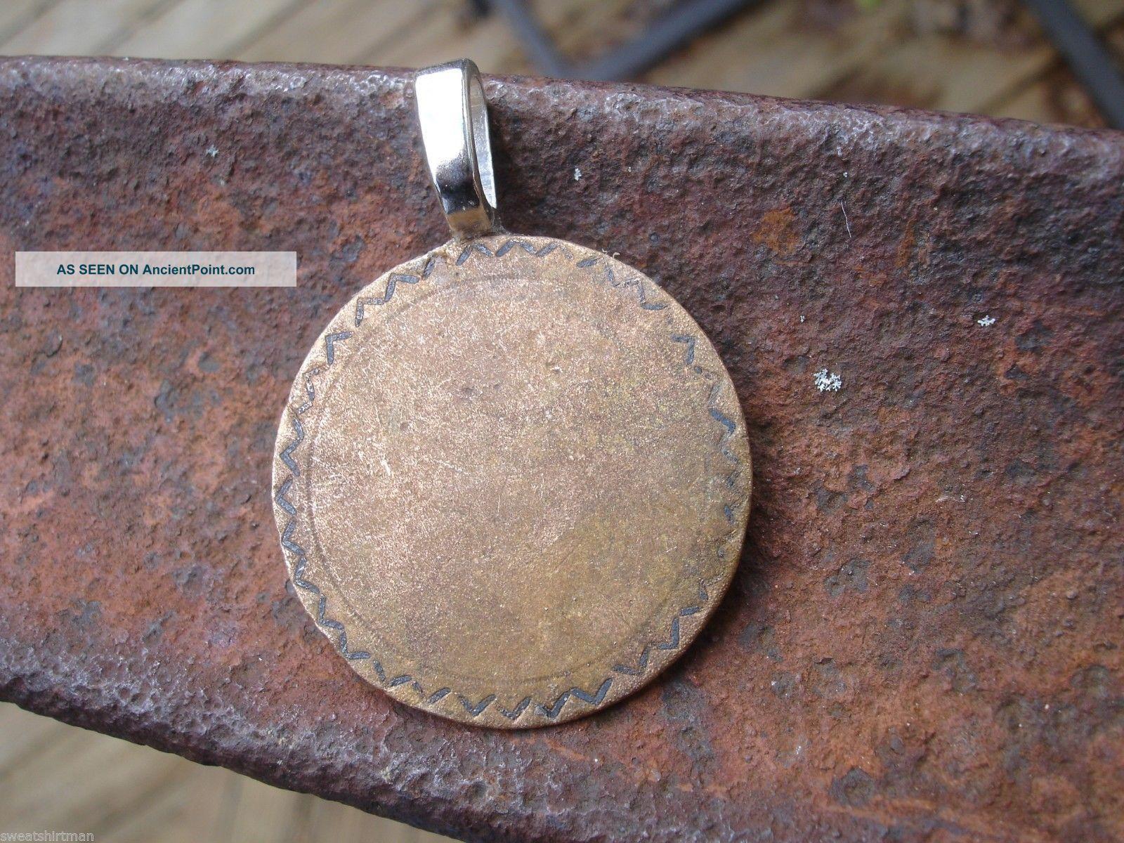 Big Colonial 30mm Coat Button Pendant George Washington Era Antique Charm Relic Buttons photo