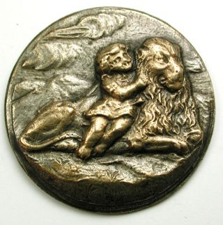 Antique Brass Button Girl Hugging A Lion Scene - 15/16