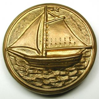 Lg Sz Antique Brass Button Detailed Sailing Boat Design 1 & 7/16