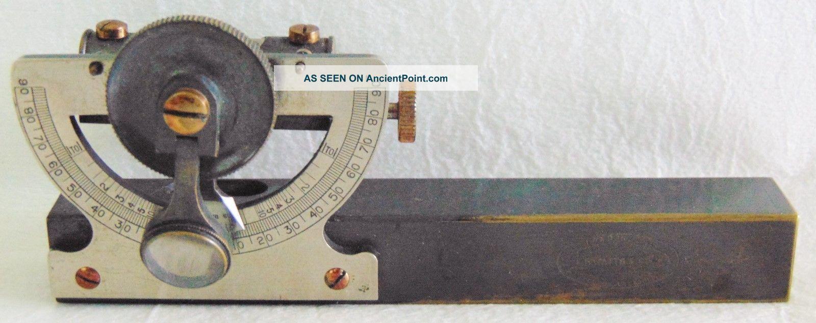 Vintage E.  R.  Watts & Son Abney Level Surveyors Pocket Clinometer / Case Engineering photo