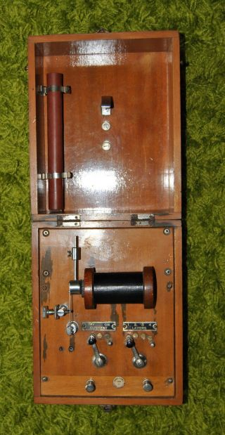 Antique Schall & Son Of London Shock Machine In Hinged Wood Case Vgc photo