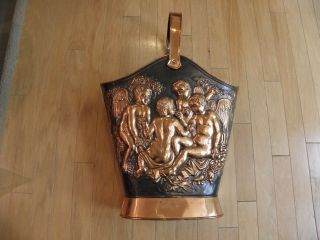 Vintage Copper Coal Scuttle photo