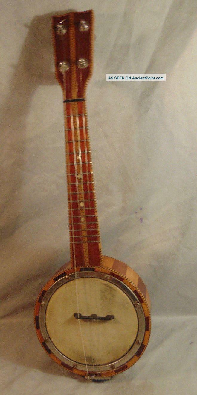 Antique 4 String Banjo Ukulele Gorgeous W/ Dual F Hole Back Unmarked String photo