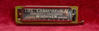 Antique Pre War Hohner Chromonica 10 Hole Harmonica Key Of C - Made In Germany photo