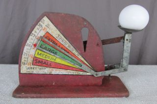Vintage Jiffy Way Egg Scale Red Farm Weigh Measure Grade Chicken Duck Usa photo