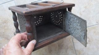 Antique 1820 Hand Made Punched Tin Foot Warmer,  Folk Art,  Americana,  Church photo