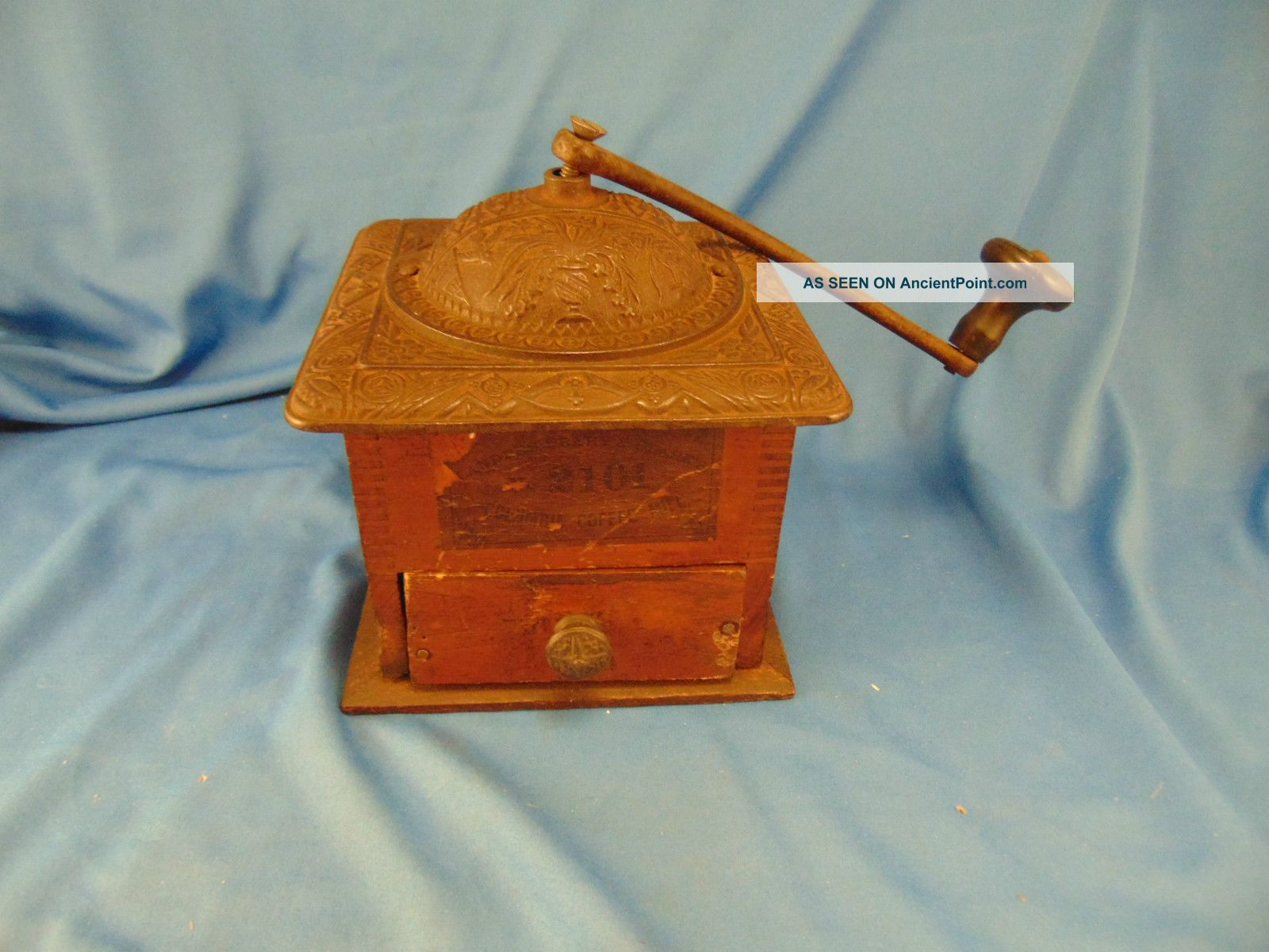 Antique Coffee Beans Grinder Wood And Copper Parts Ornate Top Birds Embossed Art Other Antique Home & Hearth photo