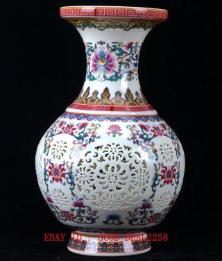 Chinese Porcelain Handmade Hollow Vase W Qianlong Mark Cqlk11 photo