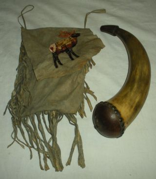 C1880 Plains Native American Indian Quill Deer Hide Fringed Bag& Powderhorn Vafo photo