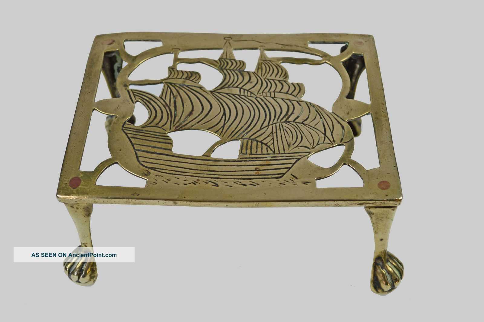 Antique C.  1920 Reticulated Brass Trivet,  Nautical Theme,  English. Trivets photo