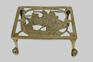 Antique C.  1920 Reticulated Brass Trivet,  Nautical Theme,  English. photo