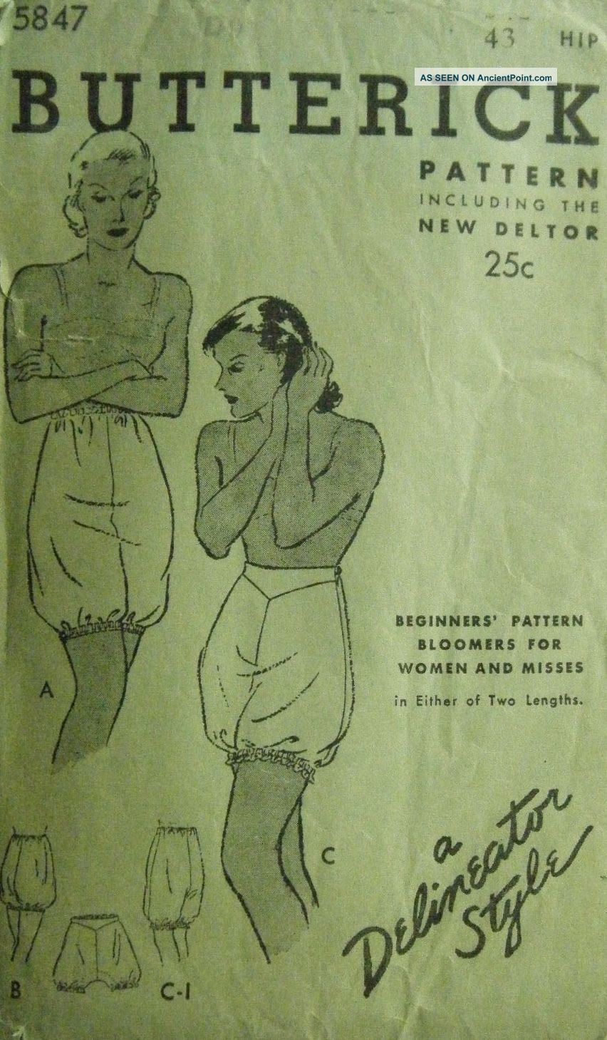 Antique Butterick Delineator Period Women ' S Sewing Pattern Bloomers Other Antique Sewing photo
