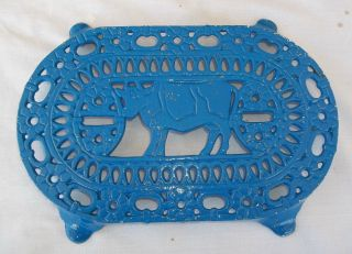 Antique Ornate Cow & Daisies Footed Cast Iron Trivet Vintage Farm Estate Find photo