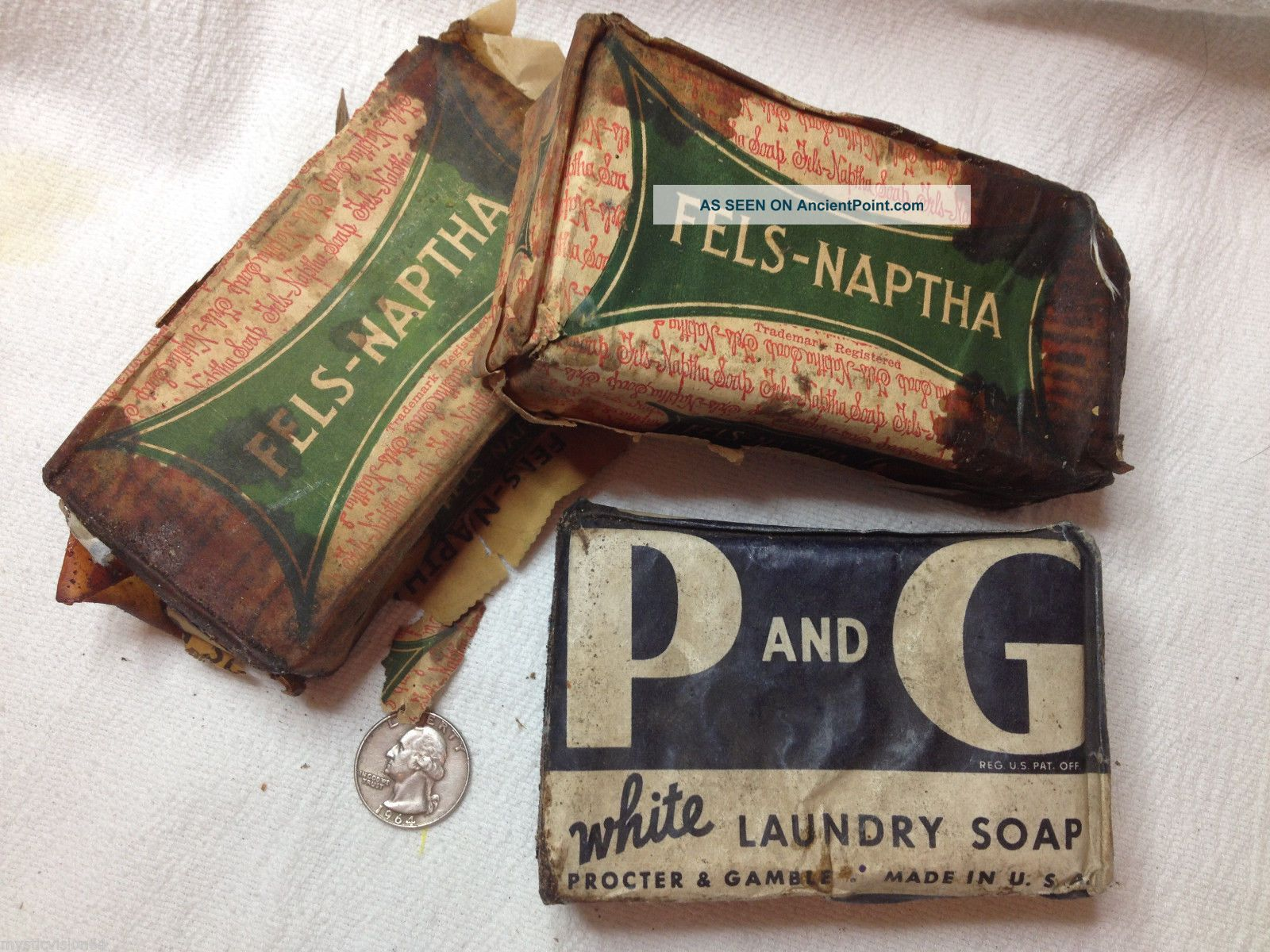 1920 - 40s Laundry Soap Blocks Fels - Naptha & Procter & Gamble Rustic Country Decor Other Antique Home & Hearth photo