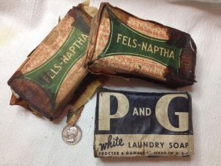 1920 - 40s Laundry Soap Blocks Fels - Naptha & Procter & Gamble Rustic Country Decor photo
