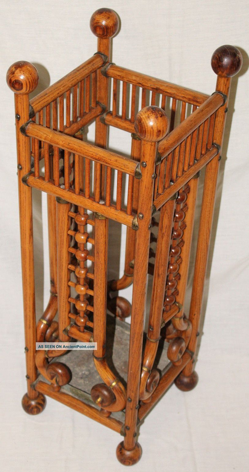 Oak Stick & Ball Antique Umbrella Stand Holder,  Oak Wood,  C.  1870 ' S Other Antique Home & Hearth photo
