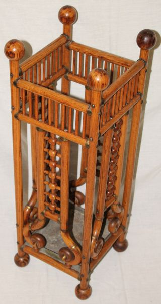 Oak Stick & Ball Antique Umbrella Stand Holder,  Oak Wood,  C.  1870 ' S photo