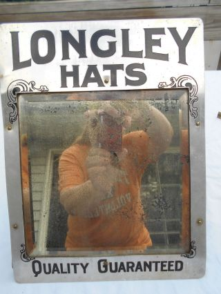 Longley Hats Antique Mirror Display Advertisement Drug Store Display photo