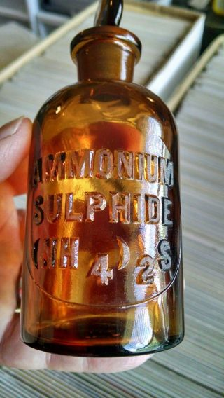 Antique Ammonium Sulphide 125ml Honey Amber Reagent Chemical Lab Ground Example photo
