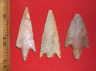 (3) Big Heart - Breaker Neolithic Stemmed Points,  Prehistoric African Artifacts photo