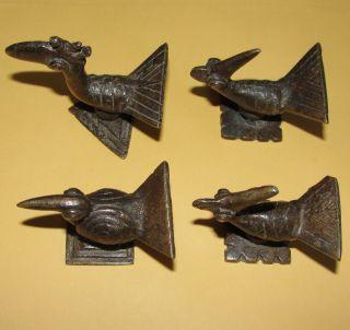 African Bronze Sankofa Bird Chicken Statue Goldweight Akan Ashanti Lobi Gan Faso photo