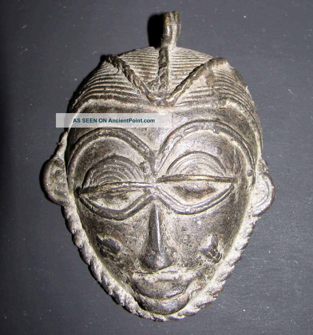 Africa Ashanti Baule Senufo Goldweight Pendant Bronze Lost Wax Mask African Face Jewelry photo