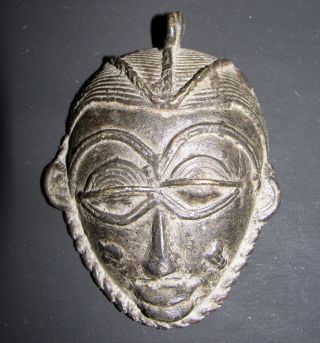Africa Ashanti Baule Senufo Goldweight Pendant Bronze Lost Wax Mask African Face photo