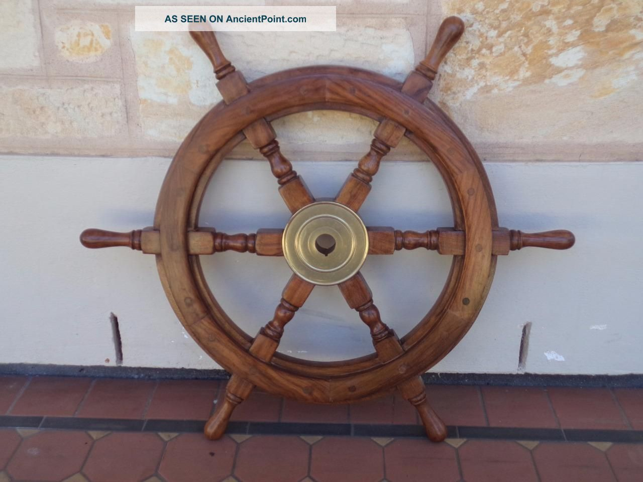 C.  1970 ' S Solid Mahogany & Brass Six Handled Ship ' S Wheel Vintage Maritime Ship Other Maritime Antiques photo