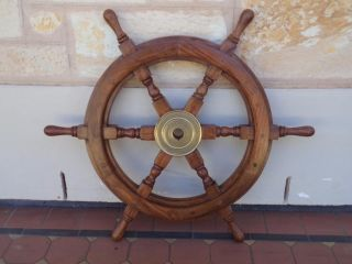 C.  1970 ' S Solid Mahogany & Brass Six Handled Ship ' S Wheel Vintage Maritime Ship photo