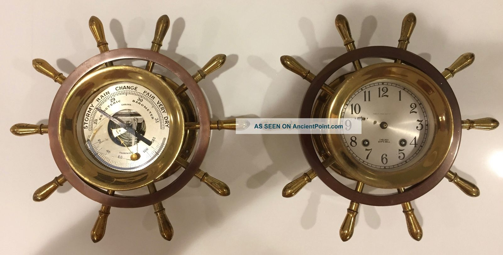 Chelsea Vintage Ship ' S Wheel Maritime Clock And Barometer 1955 - 1960 - Needs Parts Clocks photo