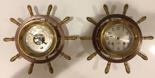 Chelsea Vintage Ship ' S Wheel Maritime Clock And Barometer 1955 - 1960 - Needs Parts photo