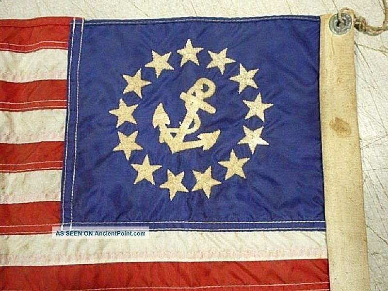 Vintage Ensign Maritime Nautical Boat Yacht Ship Flag Sewn Stars And Stripes Other Maritime Antiques photo