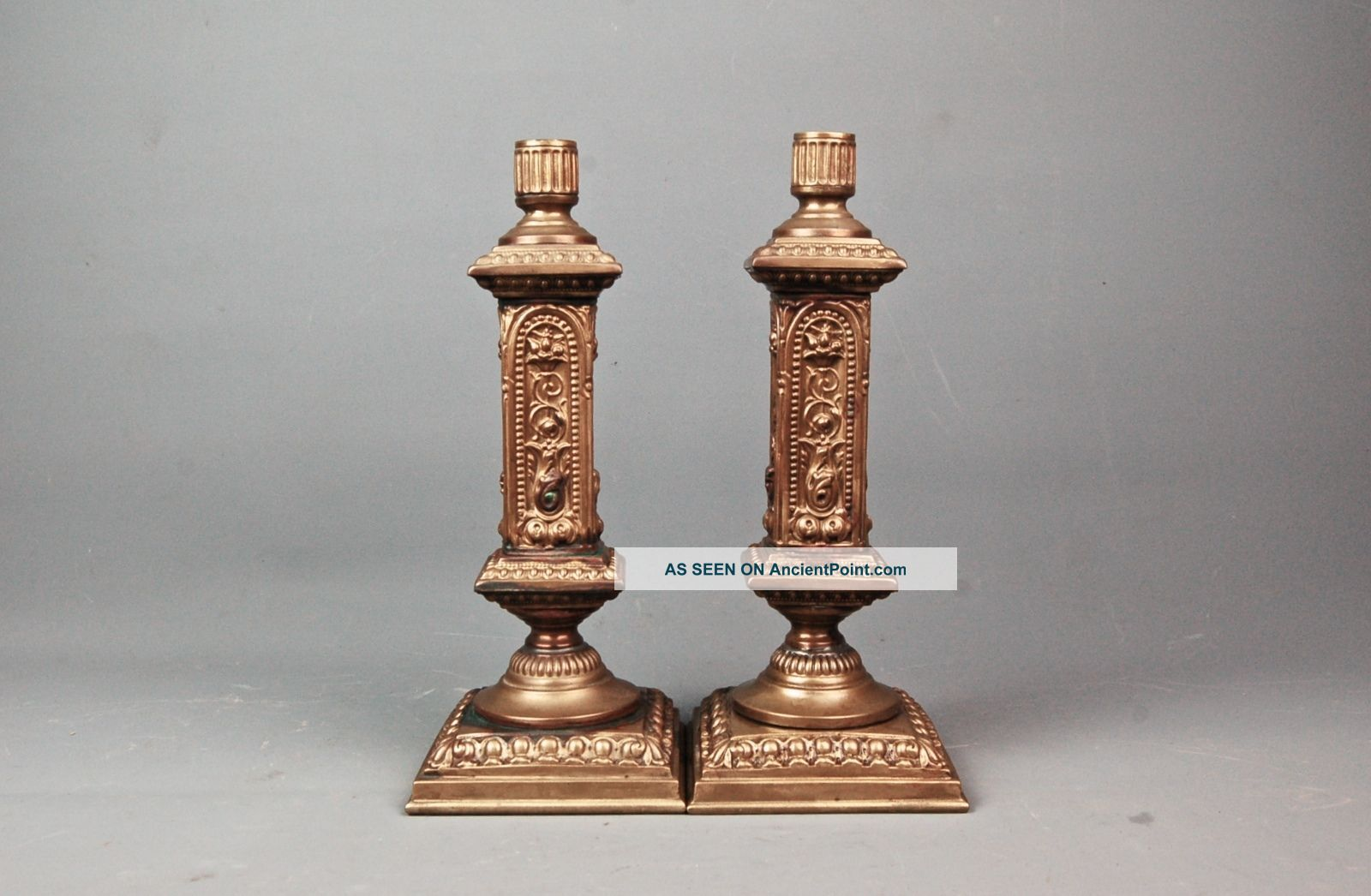 Pair Antique Gothic Revival Church Brass Repousse Candle Holder Candlestick 11