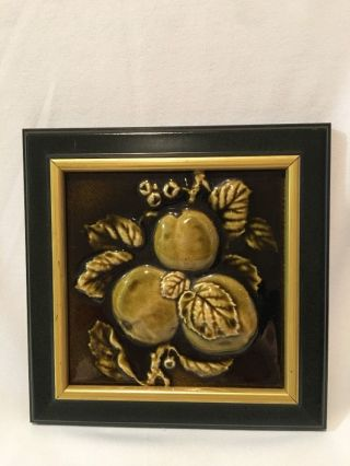 Vintage United States Encaustic Tile Co.  Framed Apple Art Tile 8 - 3/8