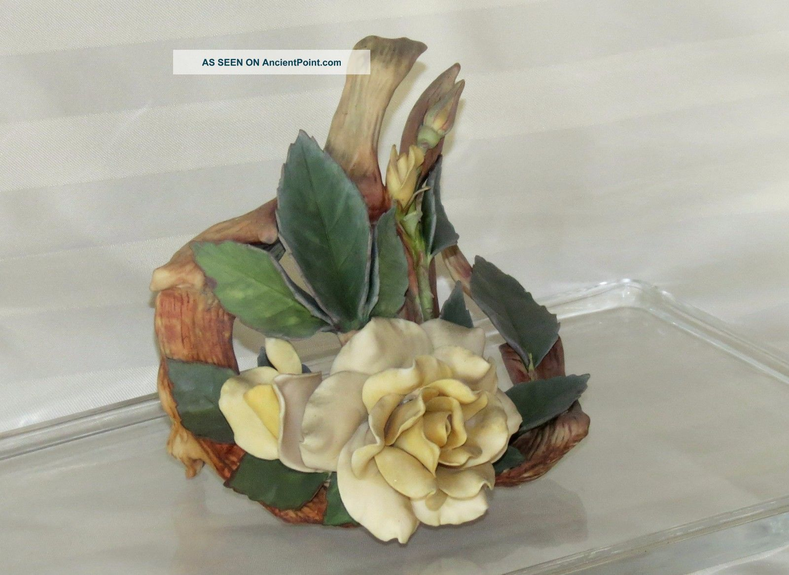 Vintage Cybis Bisque Porcelain Rose And Twig Flower Figurine Figurines photo