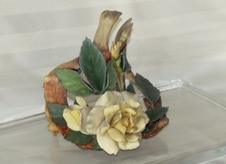 Vintage Cybis Bisque Porcelain Rose And Twig Flower Figurine photo