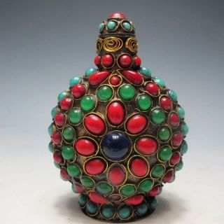 Vintage Handmade Tibetan Turquoise Coral Beads Snuff Bottle Rr photo