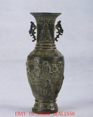 Chinese Bronze Handwork Carved Song Zi Kwan - Yin Vase W Xuande Mark Qt047 photo