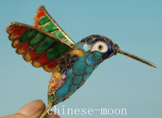 Lovely Chinese Old Cloisonne Handmade Carved Hummingbird Statue Ornament photo