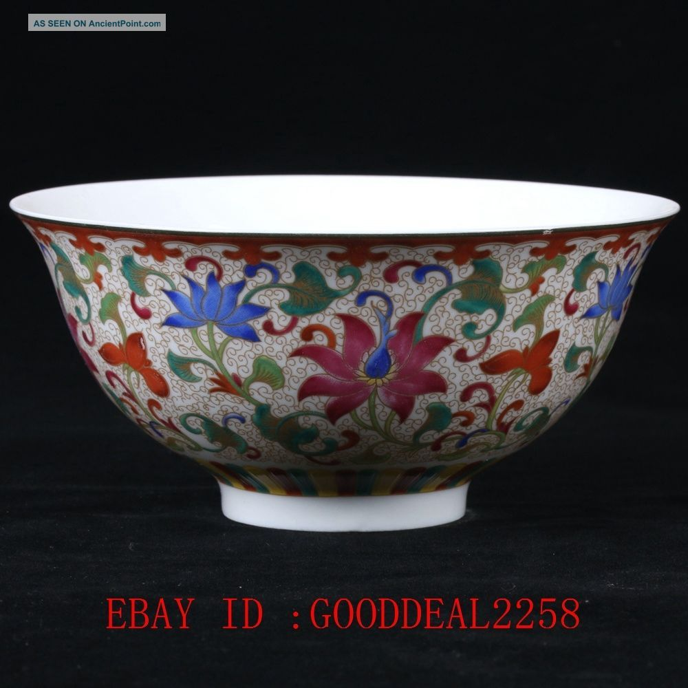 Chinese Famille Rose Porcelain Hand - Painted Bowl W Qian Long Mark Cw13 Bowls photo