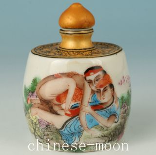 Chinese Porcelain Handmade Painting Married Life Snuff Bottle photo