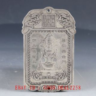 Chinese Tibet Silver Hand Carved The God Of Wealth Predant Yp19 photo