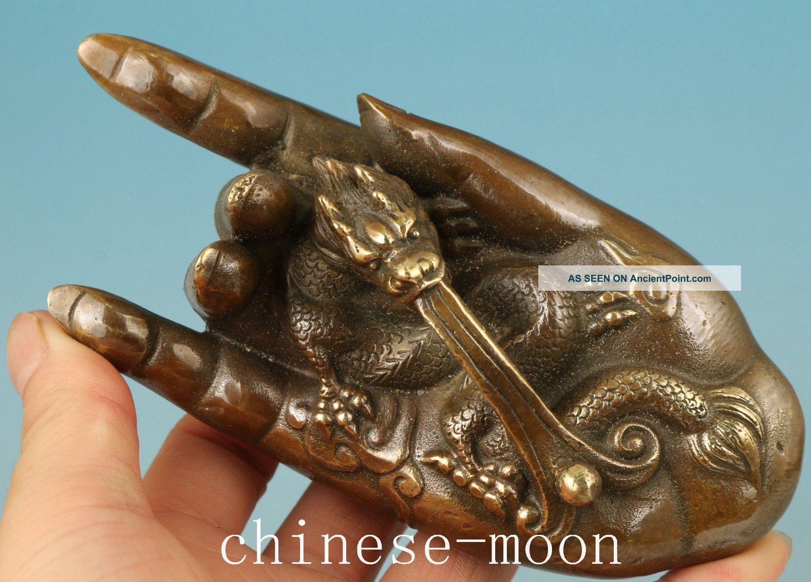 Chinese Bronze Handmade Carved Buddha Kwan - Yin Hand Dragon Statue Figurines & Statues photo