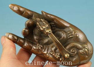 Chinese Bronze Handmade Carved Buddha Kwan - Yin Hand Dragon Statue photo