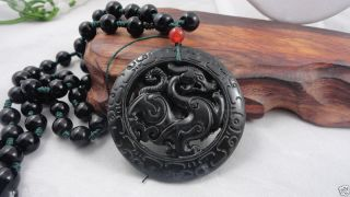 Chinese Jade Hand Carved Dragon Pendant Dragon - Necklace photo