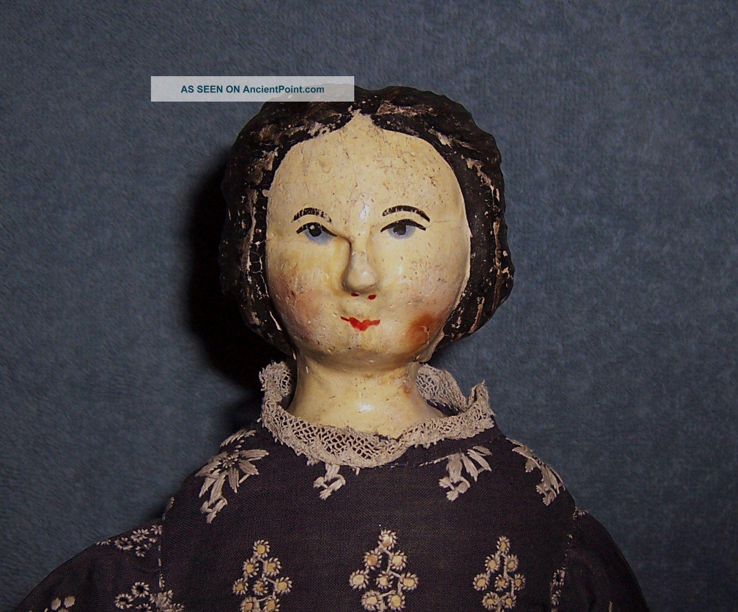 Antique Primitive Wood Cloth Doll Wooden Head - Shoulder Plate,  Bottom,  Legs,  Arms Primitives photo